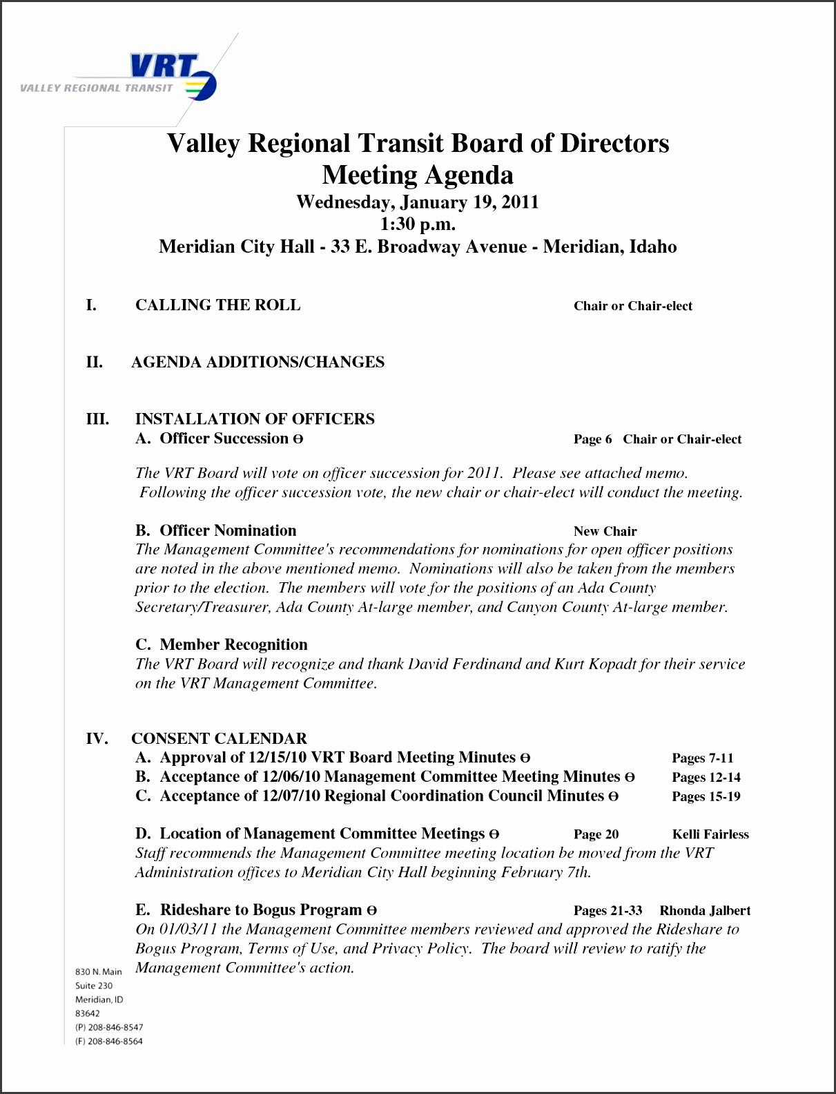 7 Board Meeting Agenda Template Sampletemplatess Within Amazing Sample Board Meeting Agenda Template