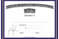 Calculus Academic Achievement Certificate Template Within Academic Achievement Certificate Templates