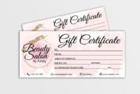 Salon Gift Certificate Templates ~ Addictionary In Beauty Salon Gift Certificate